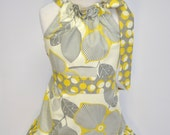 Gray and Yellow Graphic Blossom Pillowcase Dress