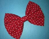 Red and White Hearts Fabric Hair Bow by Blue Kitty Boutique