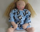 Panda Bear, doll nightgown, Waldorf doll clothes, 14 - 15 inch clothes, doll dress, for Waldorf doll