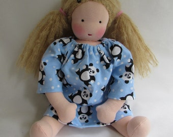 Panda Bear, doll nightgown, Waldorf doll clothes, 14 - 15 inch clothes, doll dress, for Waldorf doll