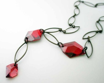 Asymmetrical Red Swarovski Crystal Elements Necklace Handmade