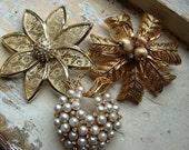 FREE SHIPPING Vintage Brooch Lot - Rhinestones Faux Pearl Filigree