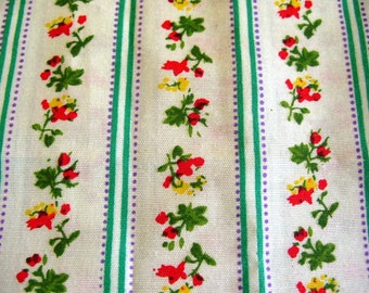 Vintage Cotton Light Green Floral Ticking Fabric - 2 yards