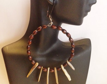 African Inspired with  Natural Golden Lip Shells Hoop Earrings with a matching Bracelet
