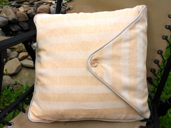 Items similar to Pillow Throw Pillow and Striped Washable Cover Peaches and Cream faux linen 18 ...