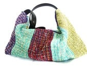 Colorful Tweed Hobo Shoulder Bag in Aqua, Hot Pink, Turquoise, Purple, and Chartreuse