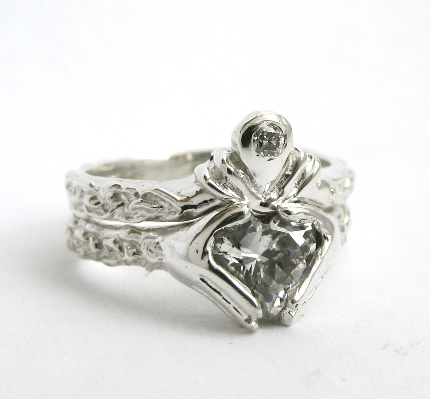 claddagh ring wedding set white gold and blue topaz