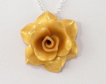 Light Gold Rose Pendant - Simple Rose Necklace - Golden Rose Necklace - Handmade Wedding Jewelry - Polymer Clay Rose - Ready to Ship - #358