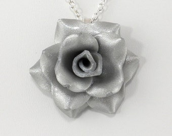 Light Silver Rose Pendant - Rose Necklace - Silver Clay Rose Necklace - Handmade Wedding Jewelry - Clay Rose Pendant #265 Ready to Ship