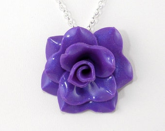 Bright Purple Rose Pendant - Simple Rose Necklace - Purple Violet Rose Necklace - Wedding Jewelry - Polymer Clay Rose Pendant - Handmade