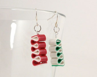 Ribbon Candy Earrings - Christmas Earrings - Red, White and Green Earrings - Holiday Earrings - Handmade, Polymer Clay - Ready to Ship #93