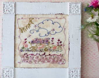 Flower Garden Wagon Embroidery PDF Pattern Instant Download