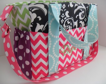 Extra Large Diaper Bag Made of Chevron Fabric/  Diaper Bag - Messenger Bag - Girl Diaper Bag - Tote Bag - Nappy Bag - Laptop Bag