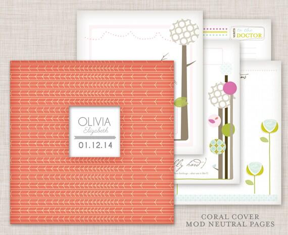 GIRL Modern Baby Memory Book (Coral Cover Album  9.25 x 9.5)