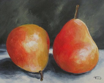 "January Pears  5"" x 7"" Original Still Life Pear Painting on Ampersand Claybord by Torrie Smiley"