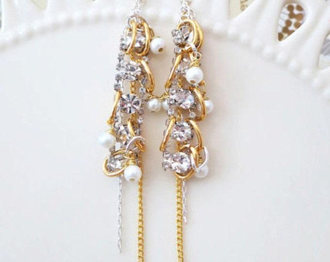 Gold Chandelier Earrings Long Wedding Earrings Bridal Statement Earrings Pearl Rhinestone Earrings Prom Wedding Jewelry Gold Silver Modern