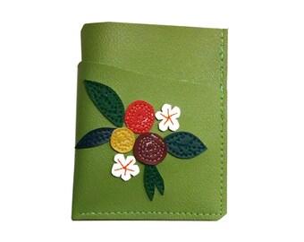Flowers) Green )  Vinyl Mini Card Wallet