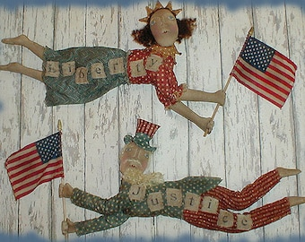 Primitive E-pattern Uncle Sam and Lady Liberty Americana Dolls and Cupid Angel