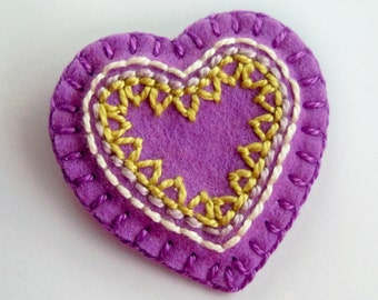 Lavender Heart Brooch or Pin - Hand Embroidery on Felt