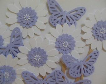 Butterfly and Flower Cupcake Toppers - Lilac and White - Girl Birthday Party Decorations - Bridal Shower Decorations - Girl Baby Shower