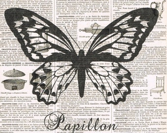 Antique Book Pages,Butterfly Papillon Insect  Illustration.flying.office.home decor.gift.birthday.mom.french.paris.winged.collage art.eco