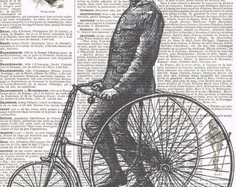 Bike.Tricycle.Antique,Altered Vintage Book Page.Bicycle.moustache man.steam punk,birthday gift.home decor.dad.mixed media.altered art