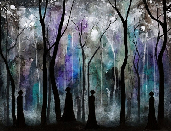 Haunted Forest Dark Shadow Fantasy Painting Haunting