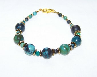 Turquoise Green and Gold Bracelet