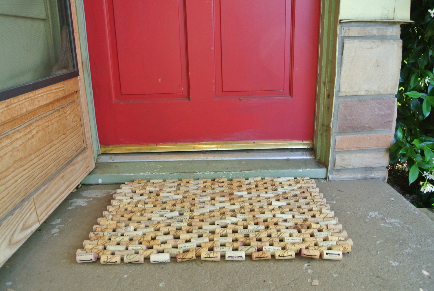 Doormat made from recycled wine corks by sarahracha on etsy for Wine cork welcome mat