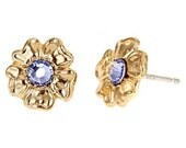 Martha Studs-14k yellow gold plated small flower studs with Swarovski crystal. Pick from 10 different colors like mint green and turquoise