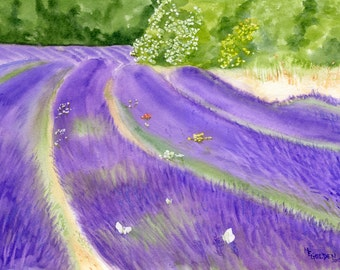 Lavender Field watercolor giclee print with white butterflies