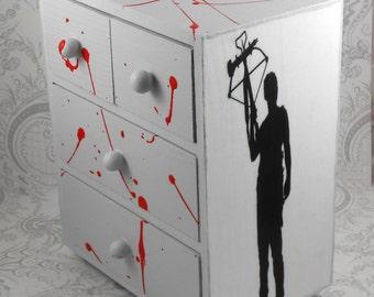 Custom Zombie Daryl Dixon Blood Splatter Walking Dead Stash Jewelry Box