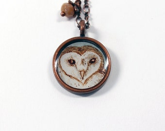 Little Barn Owl Hand Painted Necklace