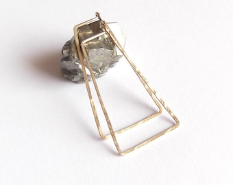 no. 575 - sterling silver or 14kt gold filled triangular hoop earrings