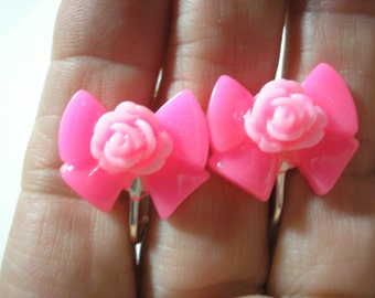 """Play Earring - Clip - Bow with Rose - Pink - 7/8"""""""