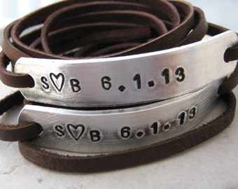 Valentine Anniversary Bracelets, Leather Wrap, SET OF 2, Couples Bracelets, Matching Bracelets, choose leather, text, see charts, read info