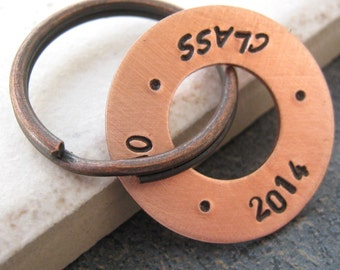 Class of 201 Keychain, hand stamped copper washer, personalization available, graduation gift, gifts for grads, senior gifts