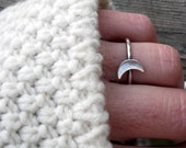 Crescent Moon Ring … sterling silver crescent moon ring stacking ring lunar ring