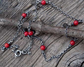 Red coral sterling silver layering necklace