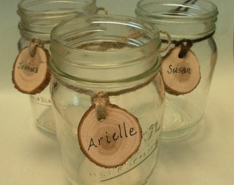 15 Mason Jar Drink Tags, dark or light brown jute twine. Outdoor wedding decor, mason jar label, wine charm, baby shower decoration