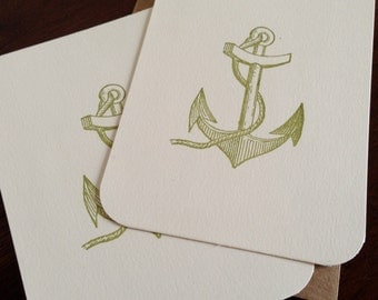 12-Pack Anchor - Flat Screen-Printed Greeting Cards