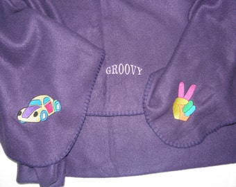 GROOVY Hippie Picnic Blanket Embroidered Rainbow Colored designs - Ready to Ship