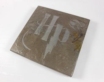 Potter Fan Art Tile - Hand Carved Slate Coaster Art, Etched Stone Art Coaster, Coaster Art, Harry Potter Inspired Wizard Decor Fantasy Decor