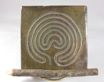 LABYRINTH STONE: Carved Troy Pathway (Single Path) - Finger Maze Meditation Tile - Hand Carved Slate Stone Stone - 7 Circuit Cretan