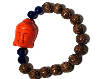 Ready to SHIP - Handmade Wrist Mala- Blue and Orange