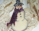 Tin Snowman Brooch - Pin - Hand Cut and Painted Tin, White,Cream, Rustic,Primitive, Vintage fabric Tweed and Homespun