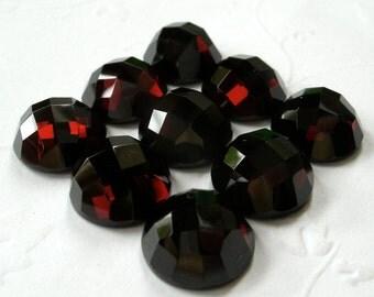 Gemstone Cabochons Garnet Checkerboard 10mm FOR ONE