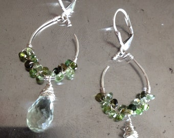 Green Tourmaline Wrapped Pendant Earrings with Green Amethyst Drops  Made to Order
