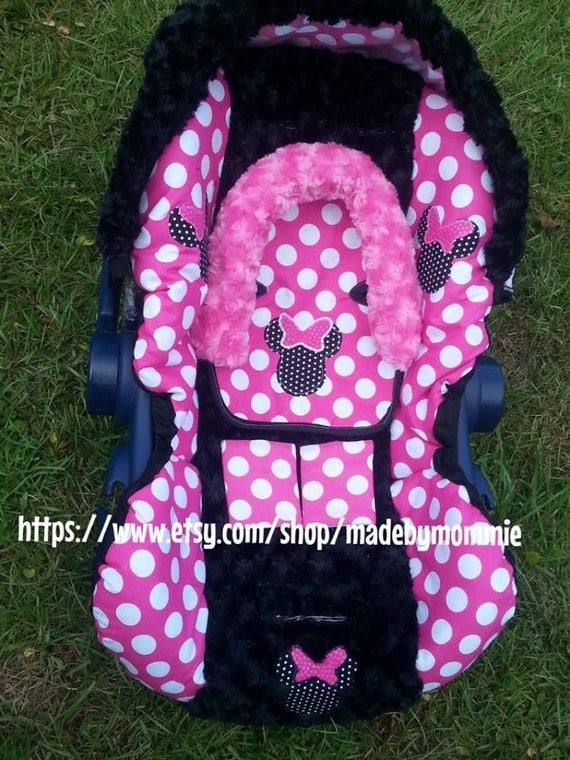 minnie mouse infant car seat cover canopy headrest and. Black Bedroom Furniture Sets. Home Design Ideas