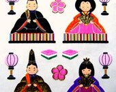 Hina Matsuri Stickers Chiyogami Paper Japanese Doll Festival Stickers (S278)